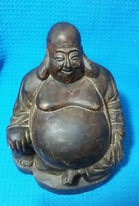 Antique Buddha Wood Carved Vintage Statue 8 High