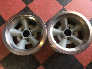 Original Pair 2 Crestline Torque Thrust Aluminum Mark Ii Wheels 14 X 6