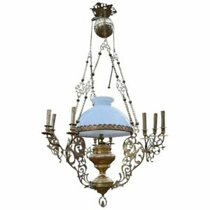 Antique Chandelier With Dragons Chimeras In Bronze And Brass Circa 1890
