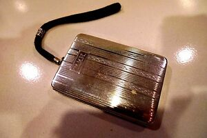 Vintage Sterling Silver Ladies Compact Wood Hughes Silver Co 1890