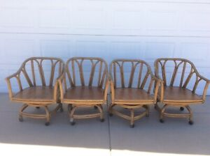 Vtg Ficks Reed Retro Bamboo Rattan Swivel Tilt Caster Patio Chair Set 9003cu