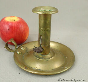 American Brass Pushup Chamber Stick Candlestick C 19th Cent