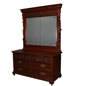 Antique Horner School Carved Mahogany Chest Of Drawers And Mirror Circa 1900