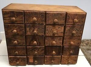 Vintage Primitive Apothecary Cabinet Wood 16 Spice Drawer Storage Chest Display