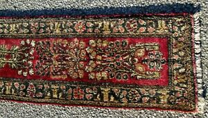 Antique Persian Oriental Rug Table Or Piano Runner A Very Rare Size 13 X 57
