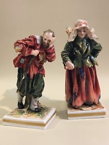 Pair Of Antique German Volkstedt Beggar Porcelain Figurines Rare