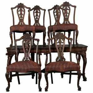 English Chippendale Style Carved Walnut Dining Table And 6 Chairs 20th Century