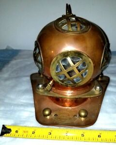 Brass Copper Glass Antique Scuba Diving Helmet Beach House Home Decor Art Lamp