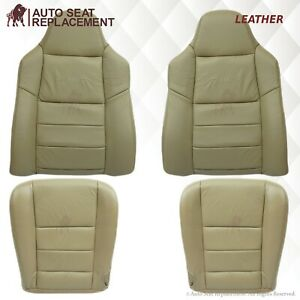 2002 To 2007 Ford F250 F350 Driver Passenger Bottom top Leather Seat Cover Tan