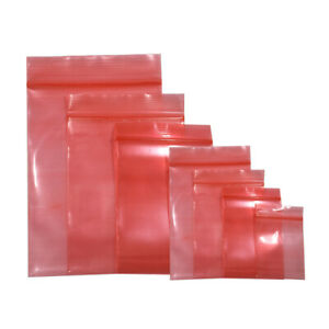 Red Esd Anti static Shielding Ziplock Bag Ink Blue Plastic Pouch For Electronics