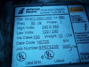 Jefferson Electric Outdoor Transformer 411 0051 000