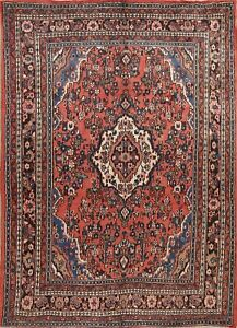 One Of A Kind Geometric Hamedan Persian Oriental Hand Knotted 7x9 Wool Area Rug