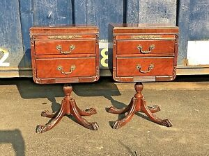 Vintage Chippendale Mahogany Nightstands Pair White Furniture Co Mid Century