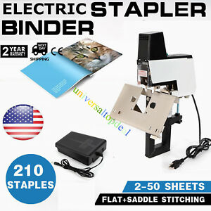 Electric Auto Stapler Binder Flat saddle Stitching Book Binding Machine W Pedal