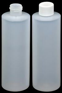 Plastic Bottle hdpe Natural W white Lid 8 oz 12 pack New