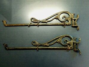 Vintage Antique Pair Wrought Iron Swivel Swing Arm Curtain Rods Brackets