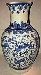 Chinese Canton Collection Vase Blue White Tall