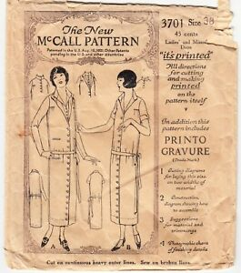 Vintage Sewing Pattern Button Down 1920s Ladies Dress Mccall 3701 38 Bust