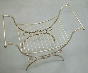 Vintage Vanity Bedroom Seat Base Gold Colored Wire Metal Just Add Your Cushion