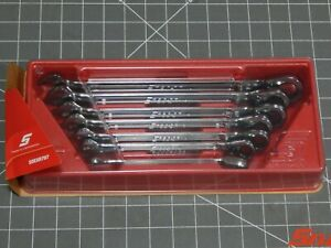 Snap On Sae Flank Drive Plus Ratcheting Wrench 7pc Set 3 8 3 4 Soexr707 Dr New