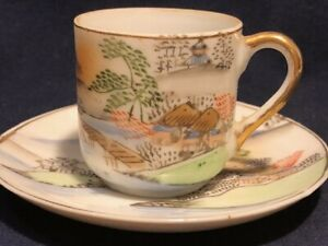 Japanese Porcelain Cup Saucer Set Hand Painted Occupied Japan