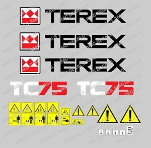 Terex Tc75 Digger Decals Warning Stickers