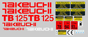 Takeuchi Tb125 Mini Digger Decal Sticker Set With Safety Warning Signs