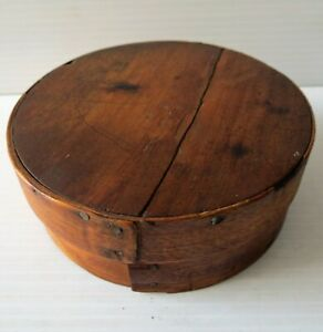 Antique Small Round Wood Berry Box With Cover 4 1 2 Dia