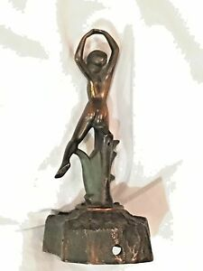 Antique Art Deco Nude Woman Dancer Figural Bronze Lamp Base 10 Frankart