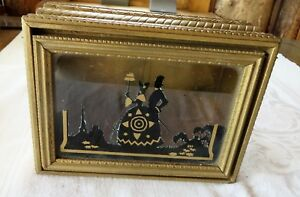 Antique Wood Jewelry Dresser Box Glass Top With Silhouettes Black