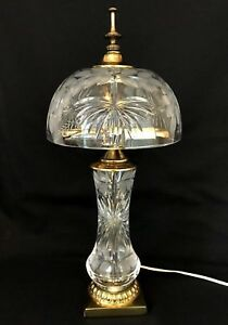 Vintage Dresden Signed Frosted Cut Crystal Lamp Brass Base Ornate Leaves Star