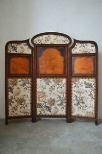Art Nouveau Three Panel Folding Screen Or Room Divider In Carved Wood Circa 1900