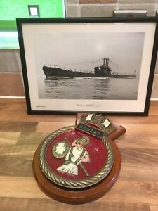 Rare Vintage Submarine Ships Plaque Hms Aeneas Maritime Royal Navy Boat