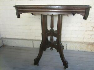 Victorian Walnut Table Eastlake With Casters All Original