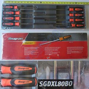 New Snap On 8 Pcs Orange Instinct Handle Cabinet Type Screwdriver Set Sgdxl80bo