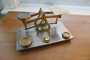 Scarce Old British Postal Scale Brass Mailing Balance Weights Made In England