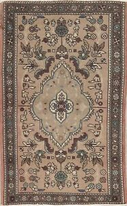 3x5 Persian Wool Hand Knotted Floral Oriental One Of A Kind Area Rug Beige