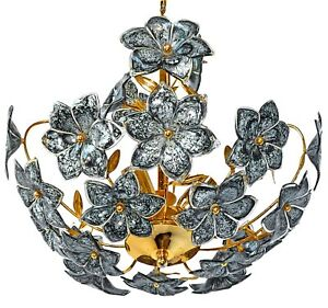 Vintage Midcentury Italian Murano Black Flowers Art Glass Gilt Brass Chandelier