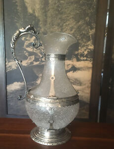 Continental Silver And Crackle Glass Figural Water Pitcher C 1870 Sterling