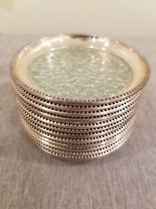 Vintage Sterling Silver Textured Glass Coasters Lot Of 12 Marked Sterling