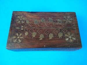 Vtg Wooden Hinged Trinket Box With Brass Inlay S Detailed Ornate