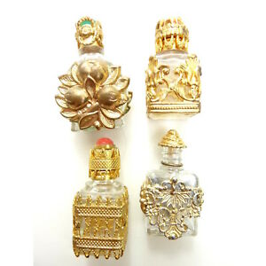 Vintage Jeweled Perfume Bottle Glass With Metal Work Set Of 4