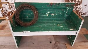 Antique 100 Year Old Green Door Bench With Original Hardware Must See