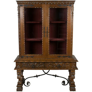 Antique French Renaissance Vitrine Bookcase China Display Cabinet Breakfront