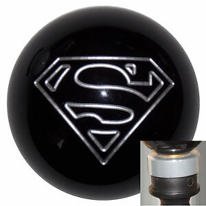 Black Superman Shift Knob With Silver Adapter Kit Fits New Dodge Dart