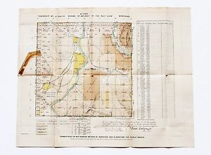 1883 Utah Territory Map Plat Survey Colorado River Broken Bench Original Rare
