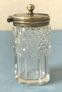 Antique English 1800 S Cut Crystal Silver Plate Salt Cellar W Attached Lid