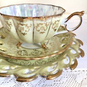 3piece Set Lusterware Celadon Cup Saucer And Plate Reticulated Iridescence