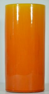 Gorgeous Antique Japanese Awaji Cylinder Orange Vase Signed 1899 1922