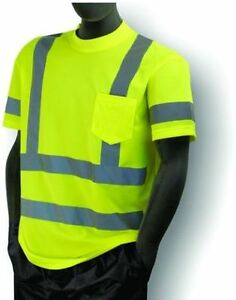 3 Ansi Mens Class 3 Wicking Snag Resistant Safety Pocket T shirt Reflective 5xl